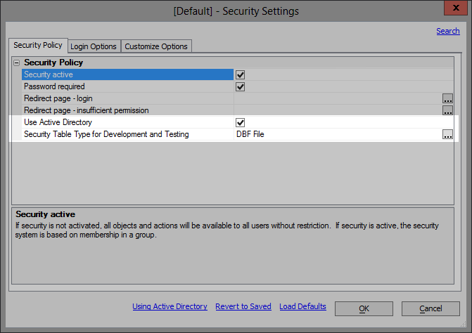 Security settings dialog.