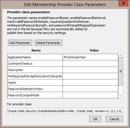 Provider class parameters dialog.