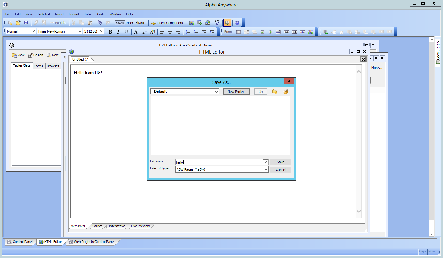 how to set start page in iis